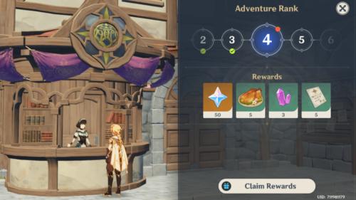 Adventure Rank rewards screenshot of Genshin Impact Mobile video game interface.