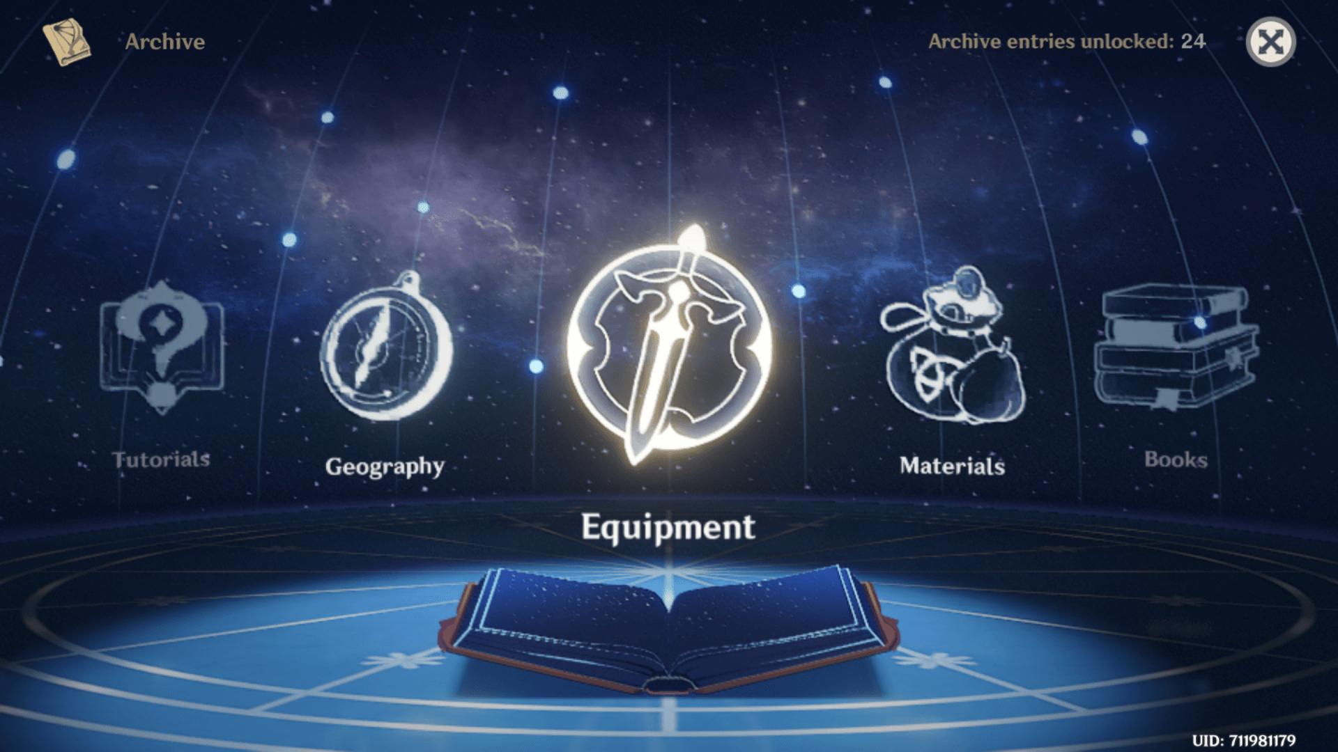 Archive screenshot of Genshin Impact Mobile video game interface.