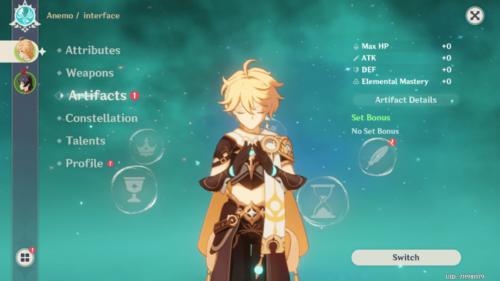 Artifacts screenshot of Genshin Impact Mobile video game interface.