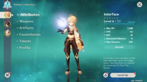 Attributes screenshot of Genshin Impact Mobile video game interface.