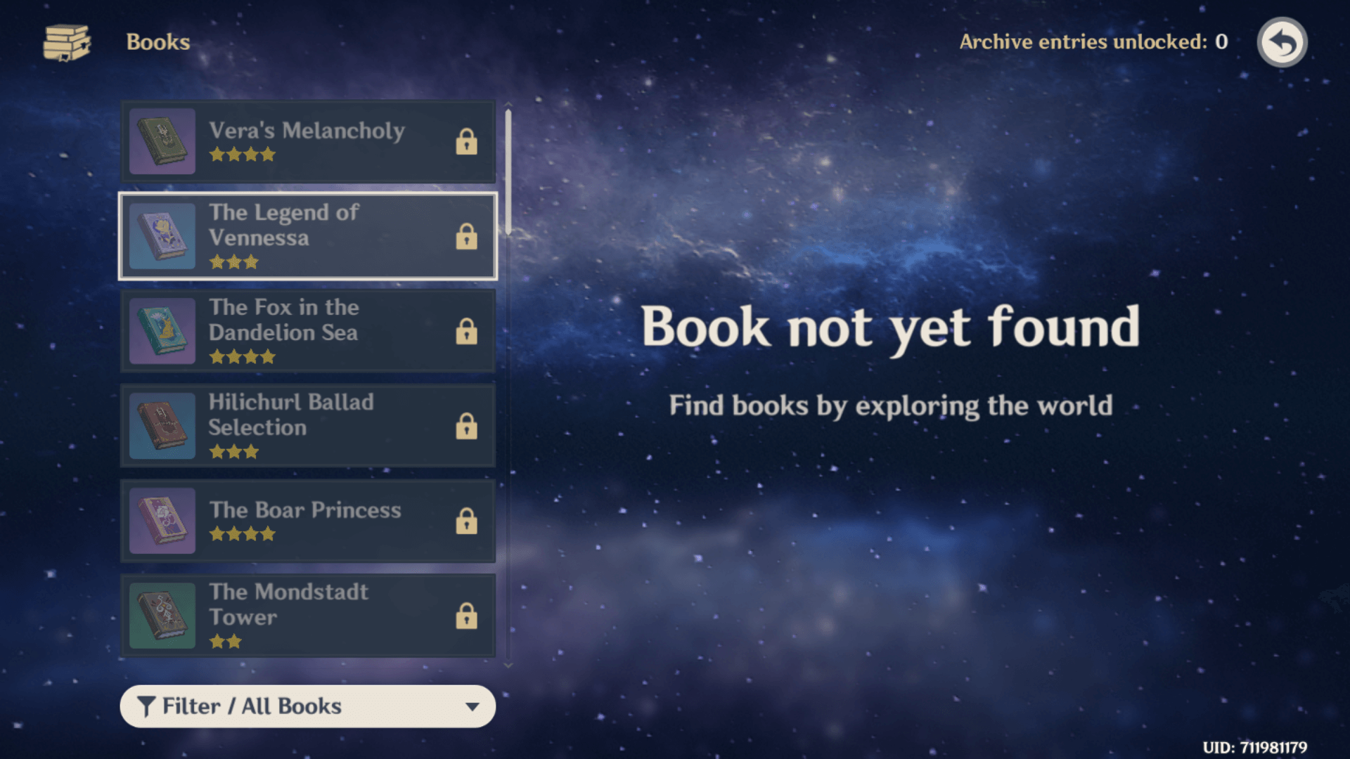 Books screenshot of Genshin Impact Mobile video game interface.