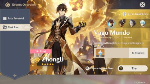 Challenge screenshot of Genshin Impact Mobile video game interface.