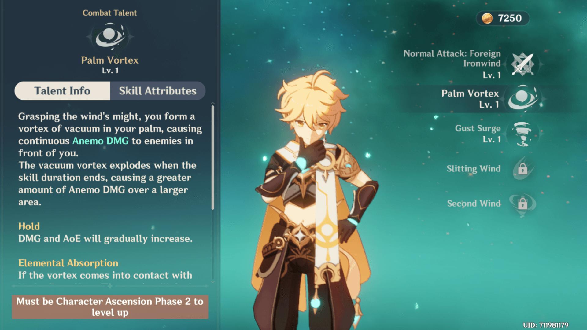 Combat Talent screenshot of Genshin Impact Mobile video game interface.