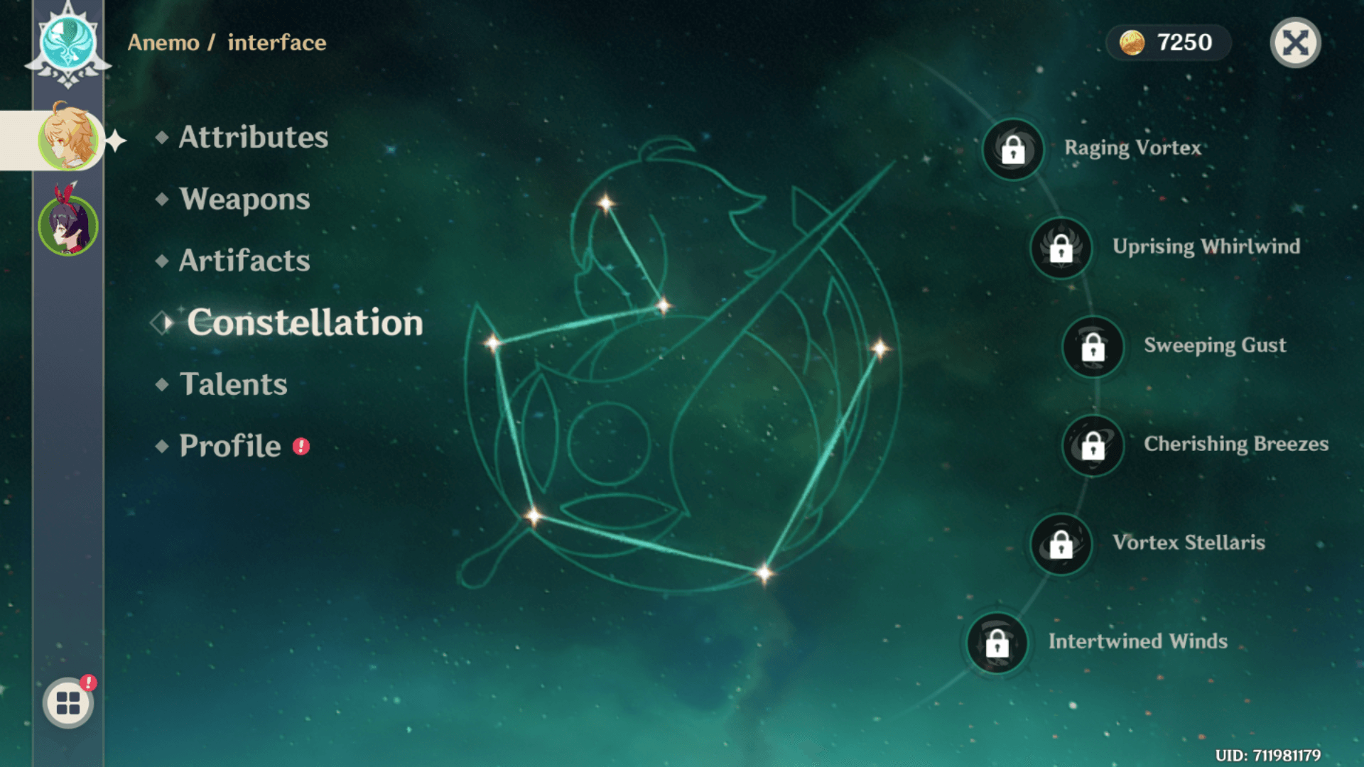 Constellation screenshot of Genshin Impact Mobile video game interface.