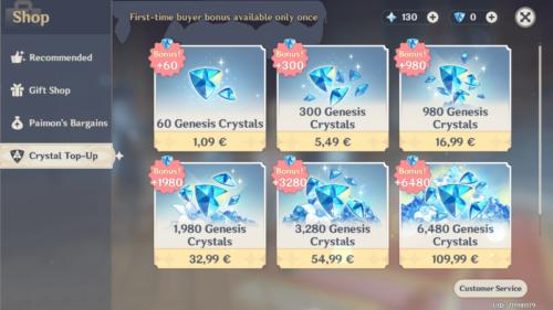 Crystal Top-Up screenshot of Genshin Impact Mobile video game interface.