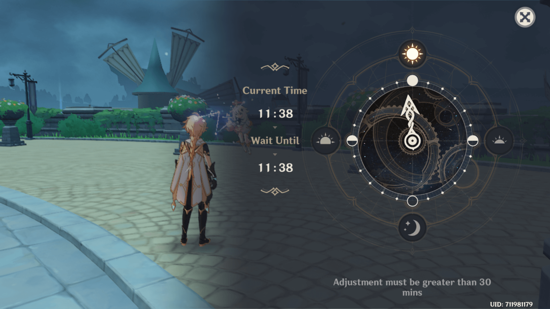 Current time screenshot of Genshin Impact Mobile video game interface.