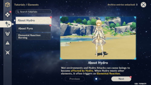 Elements tutorials screenshot of Genshin Impact Mobile video game interface.