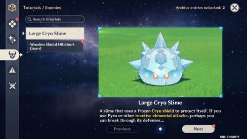 Enemies tutorials screenshot of Genshin Impact Mobile video game interface.