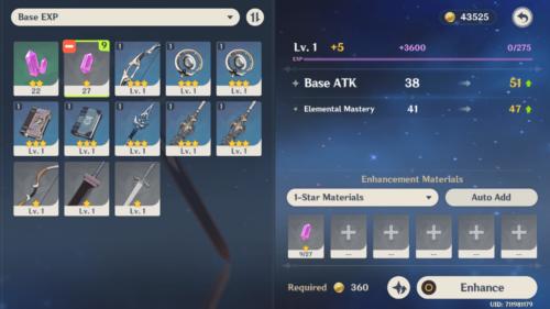 Enhance screenshot of Genshin Impact Mobile video game interface.