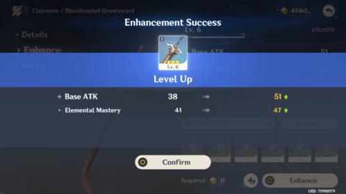 Enhancement Success screenshot of Genshin Impact Mobile video game interface.