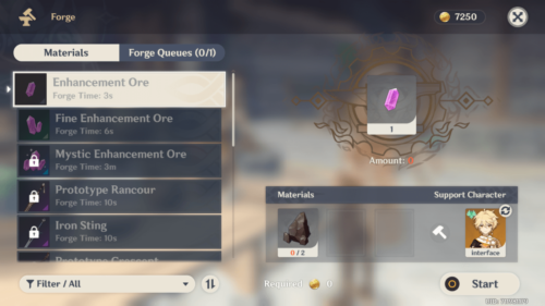 Forge screenshot of Genshin Impact Mobile video game interface.