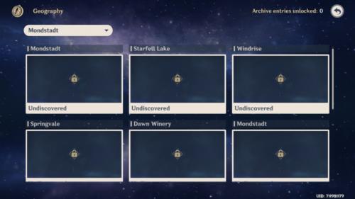 Geography screenshot of Genshin Impact Mobile video game interface.