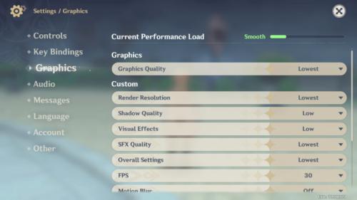 Graphics screenshot of Genshin Impact Mobile video game interface.