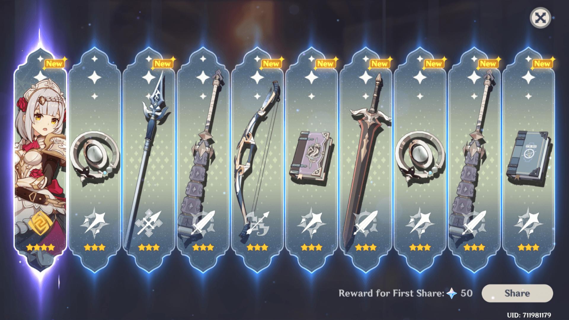 Rewards screenshot of Genshin Impact Mobile video game interface.