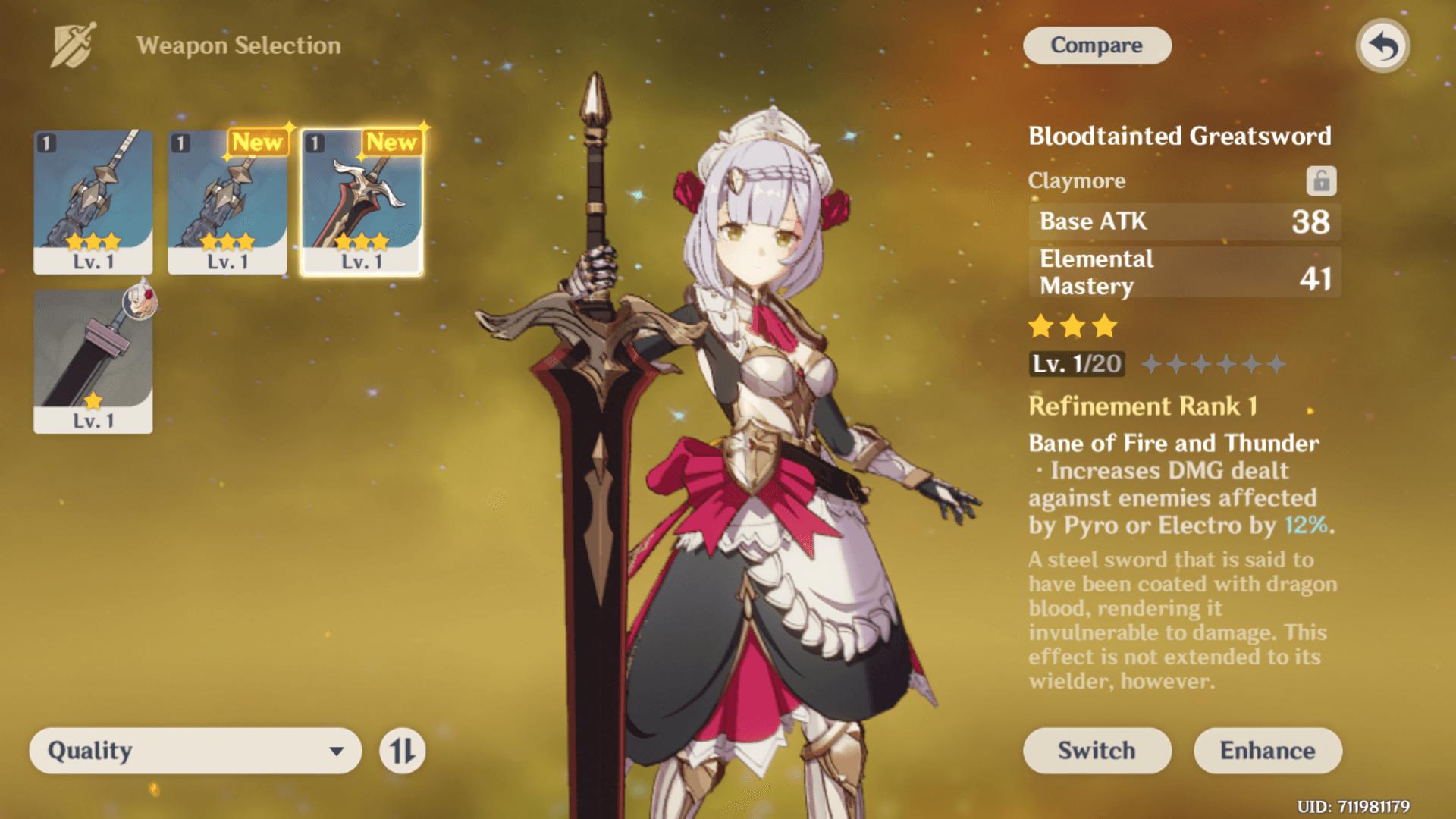 Weapon Selection screenshot of Genshin Impact Mobile video game interface.