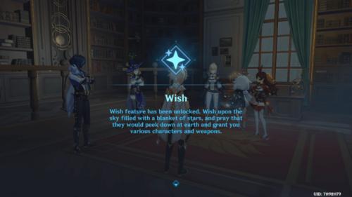 Wish screenshot of Genshin Impact Mobile video game interface.