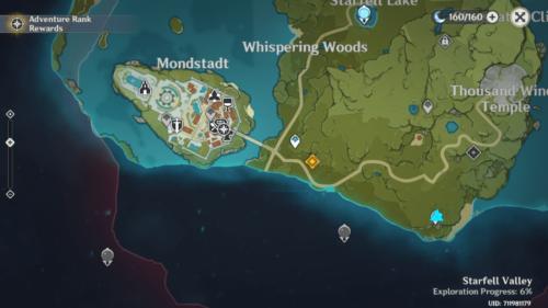 World map screenshot of Genshin Impact Mobile video game interface.