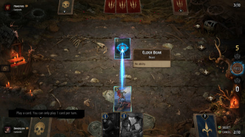 Attack a card screenshot of Gwent: The Witcher Card Game video game interface.