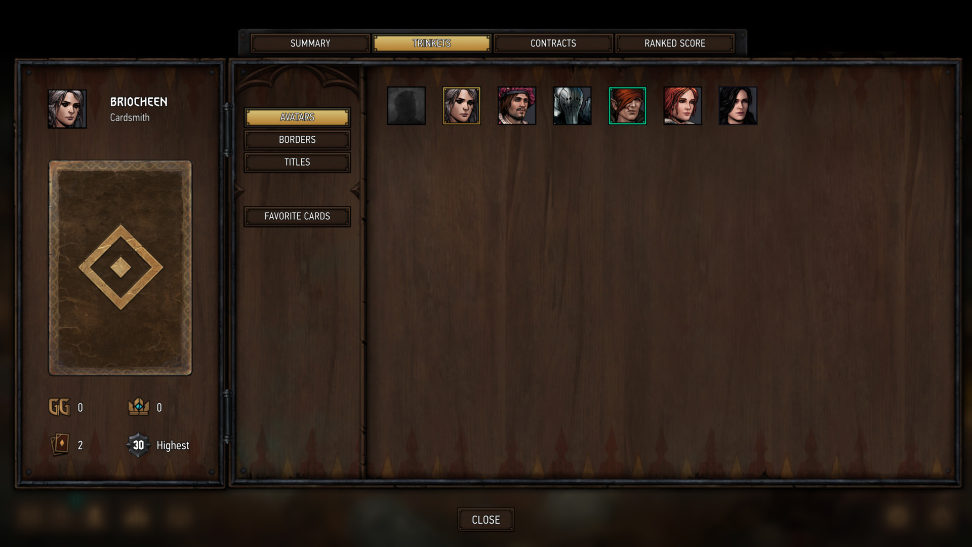 Avatars screenshot of Gwent: The Witcher Card Game video game interface.