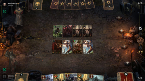 Board screenshot of Gwent: The Witcher Card Game video game interface.