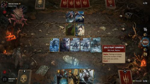 Card hover screenshot of Gwent: The Witcher Card Game video game interface.