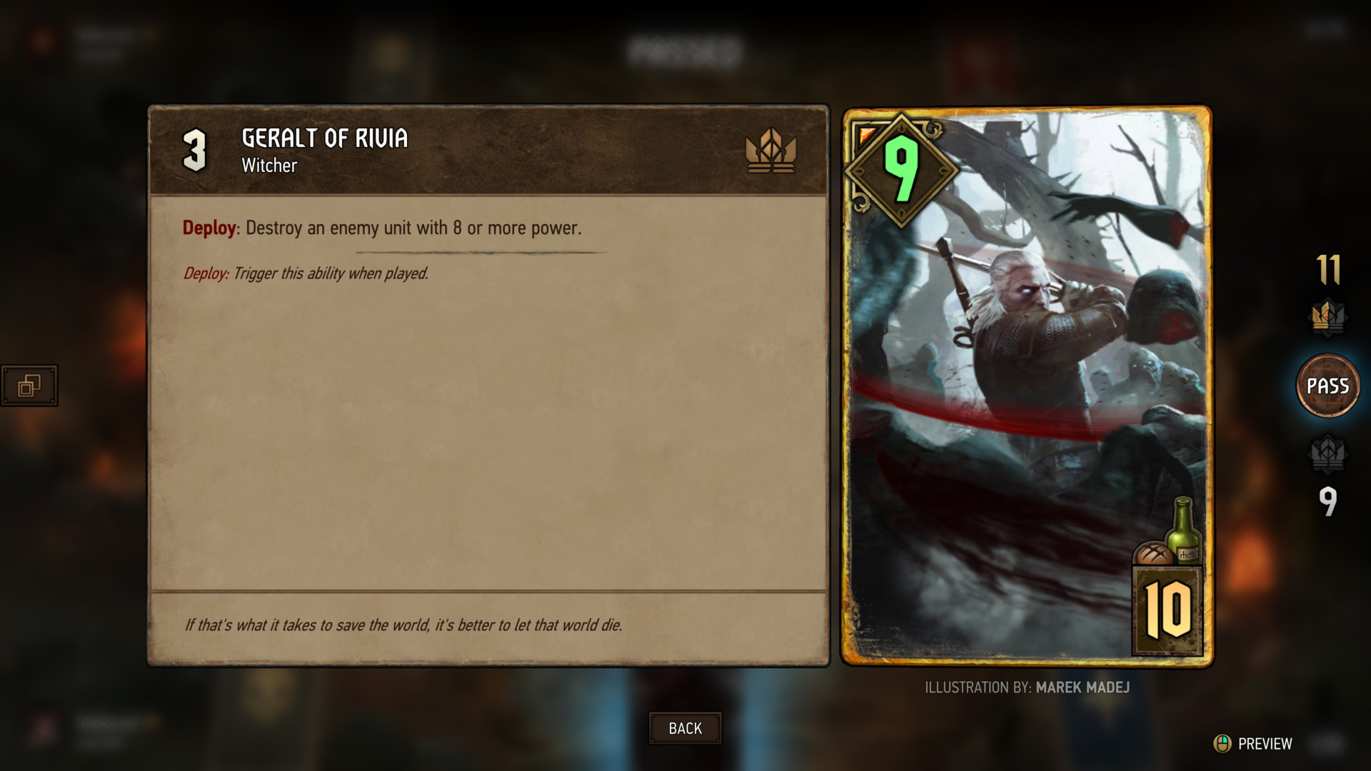 Card preview screenshot of Gwent: The Witcher Card Game video game interface.
