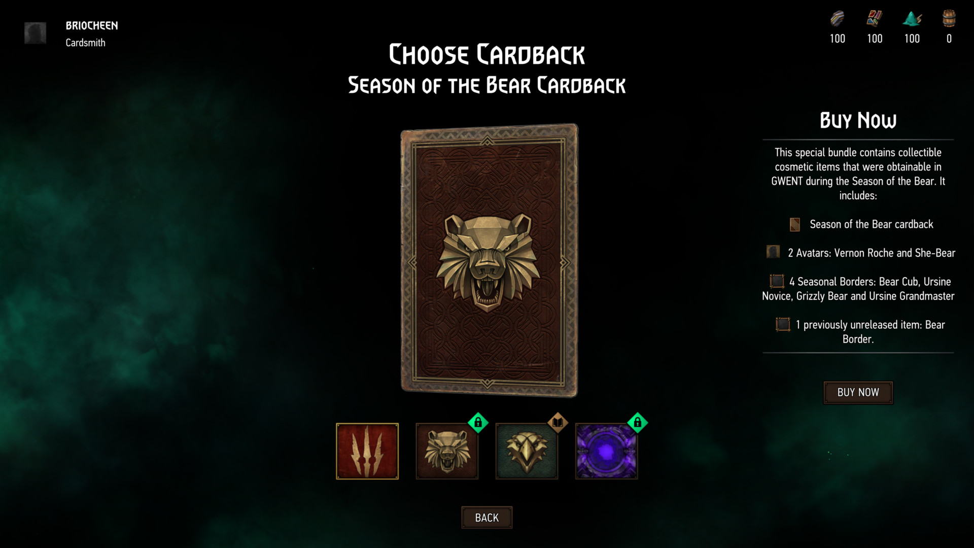 Choose cardback screenshot of Gwent: The Witcher Card Game video game interface.