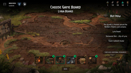 Choose game board screenshot of Gwent: The Witcher Card Game video game interface.