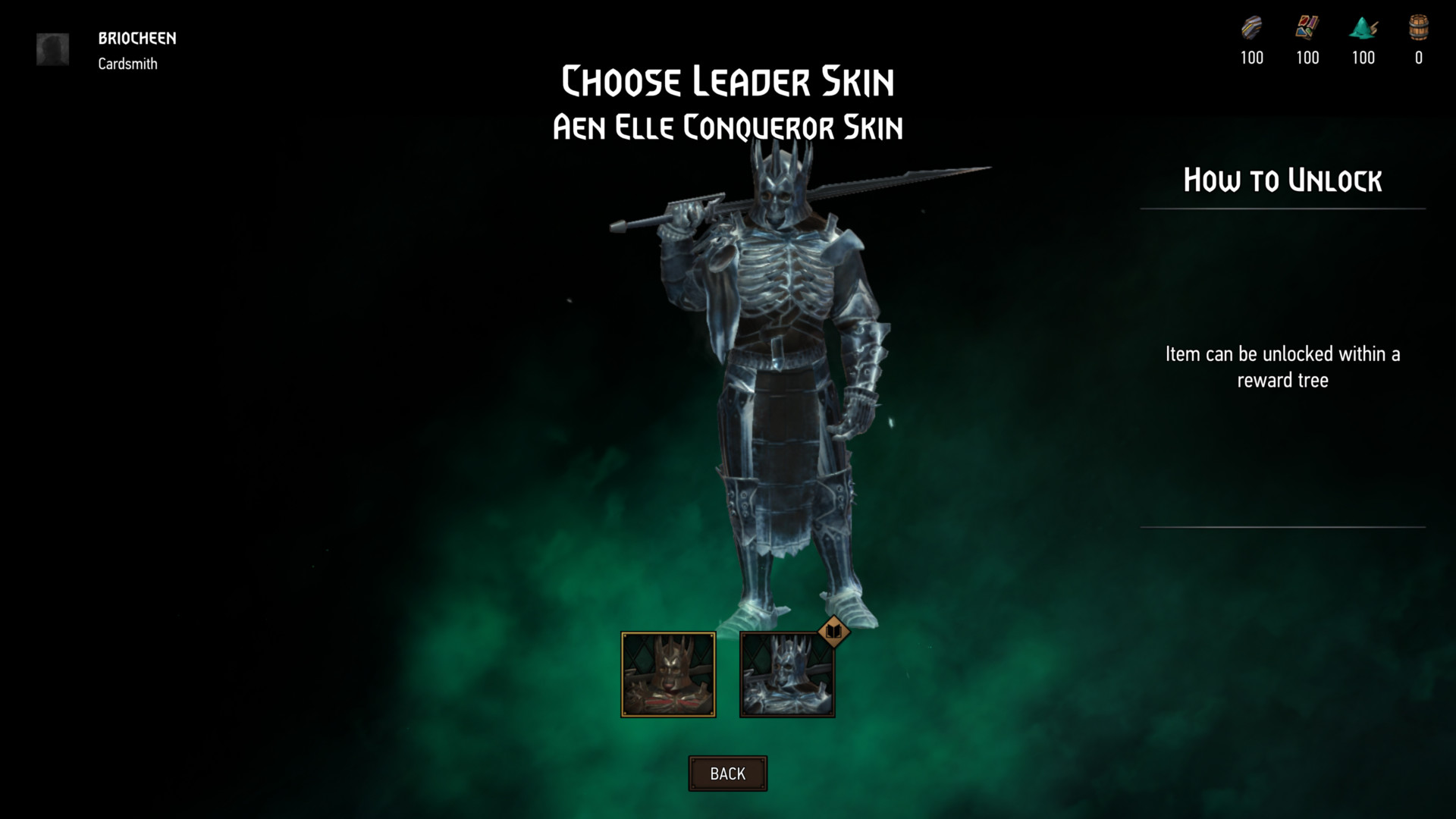 Choose leader skin screenshot of Gwent: The Witcher Card Game video game interface.