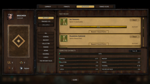 Contracts screenshot of Gwent: The Witcher Card Game video game interface.