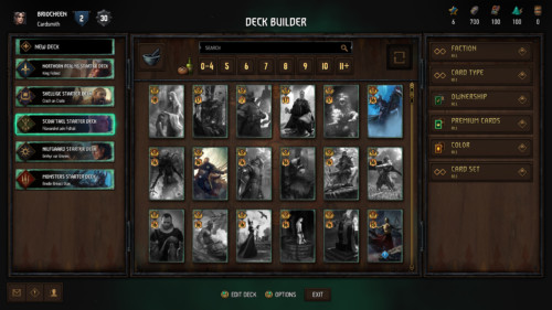 Deck builder screenshot of Gwent: The Witcher Card Game video game interface.