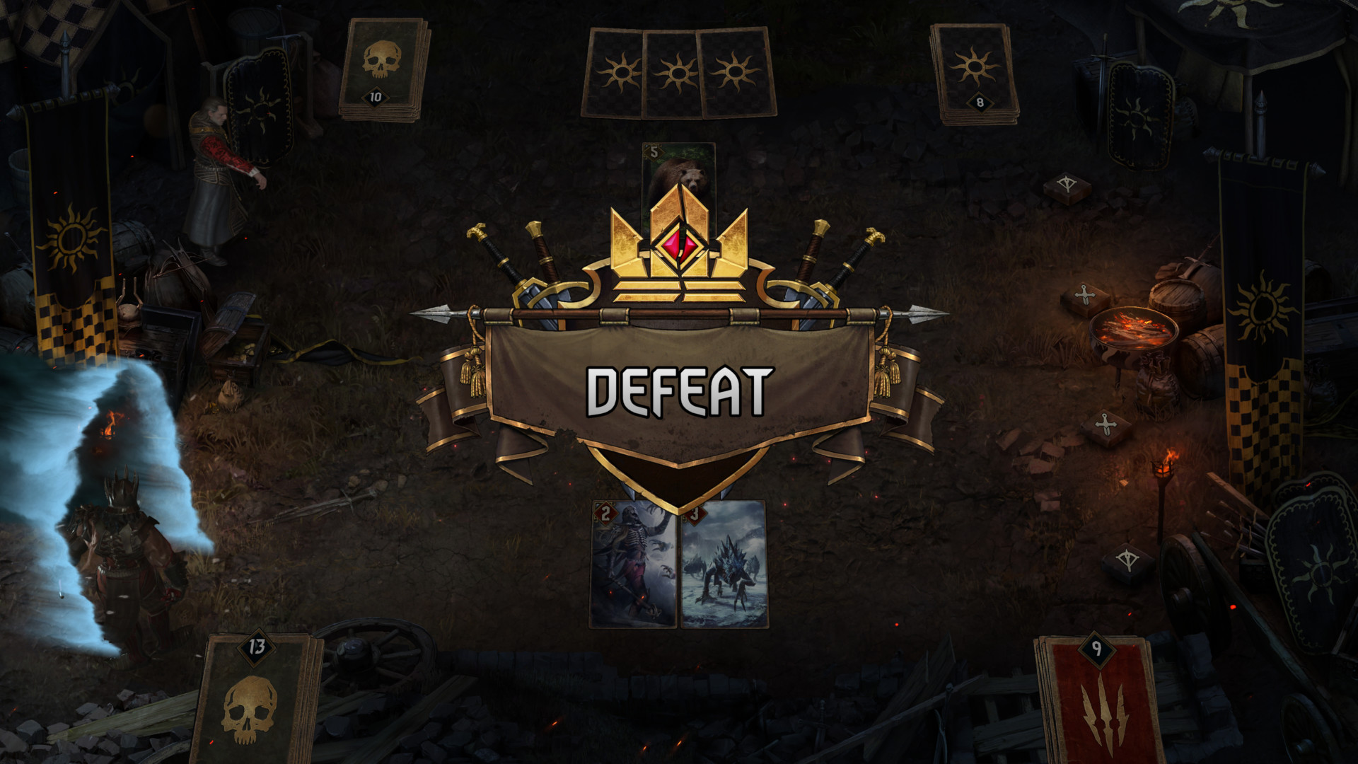 Defeat screenshot of Gwent: The Witcher Card Game video game interface.