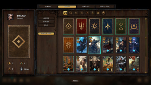 Favorite cards screenshot of Gwent: The Witcher Card Game video game interface.