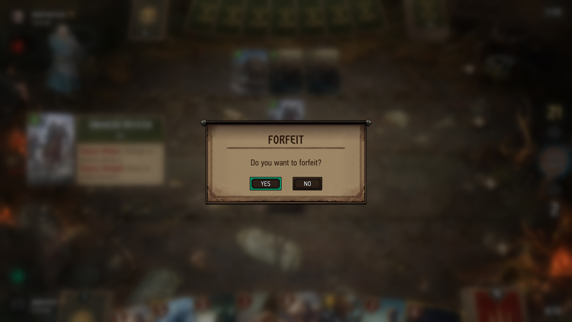 Forfeit screenshot of Gwent: The Witcher Card Game video game interface.