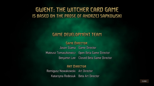 Game credits screenshot of Gwent: The Witcher Card Game video game interface.