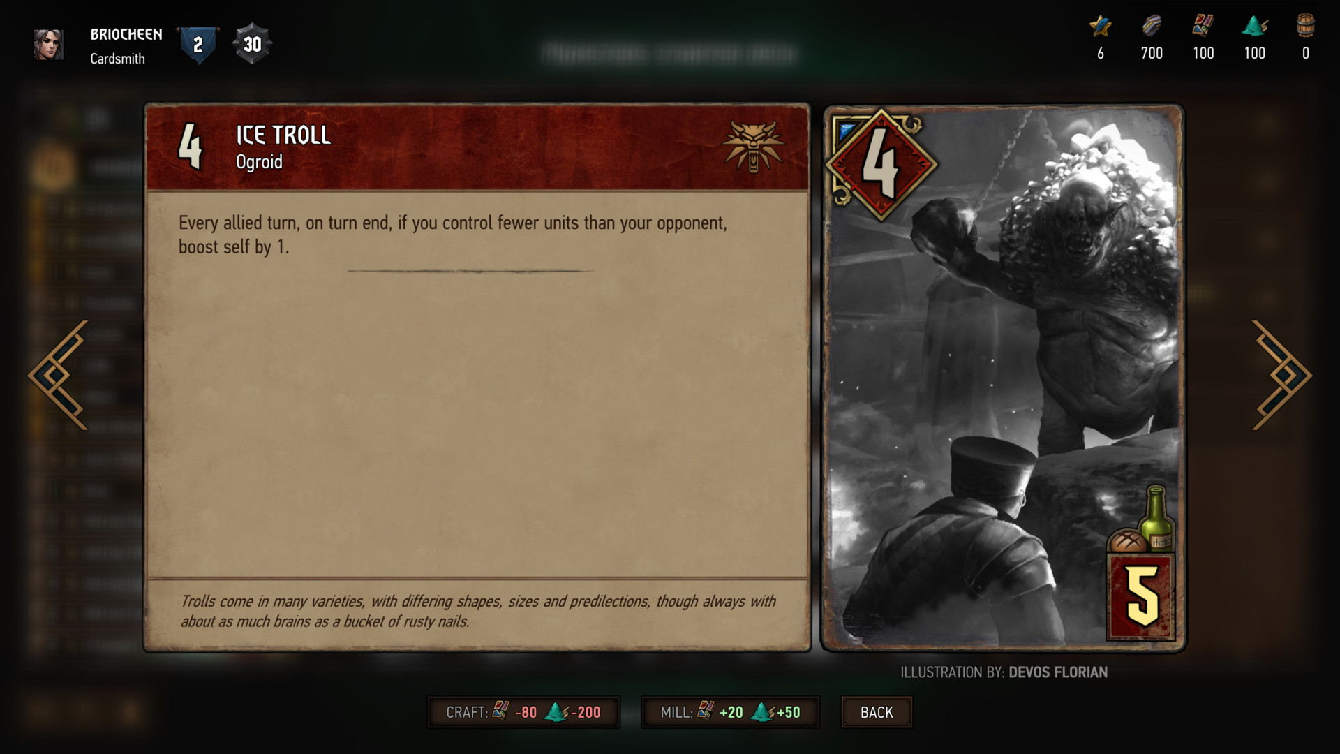 Ice troll card screenshot of Gwent: The Witcher Card Game video game interface.