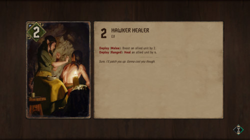 Loading screenshot of Gwent: The Witcher Card Game video game interface.