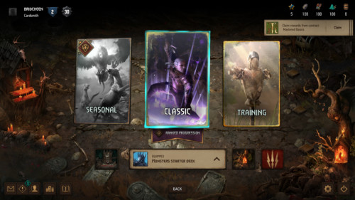 Main menu screenshot of Gwent: The Witcher Card Game video game interface.