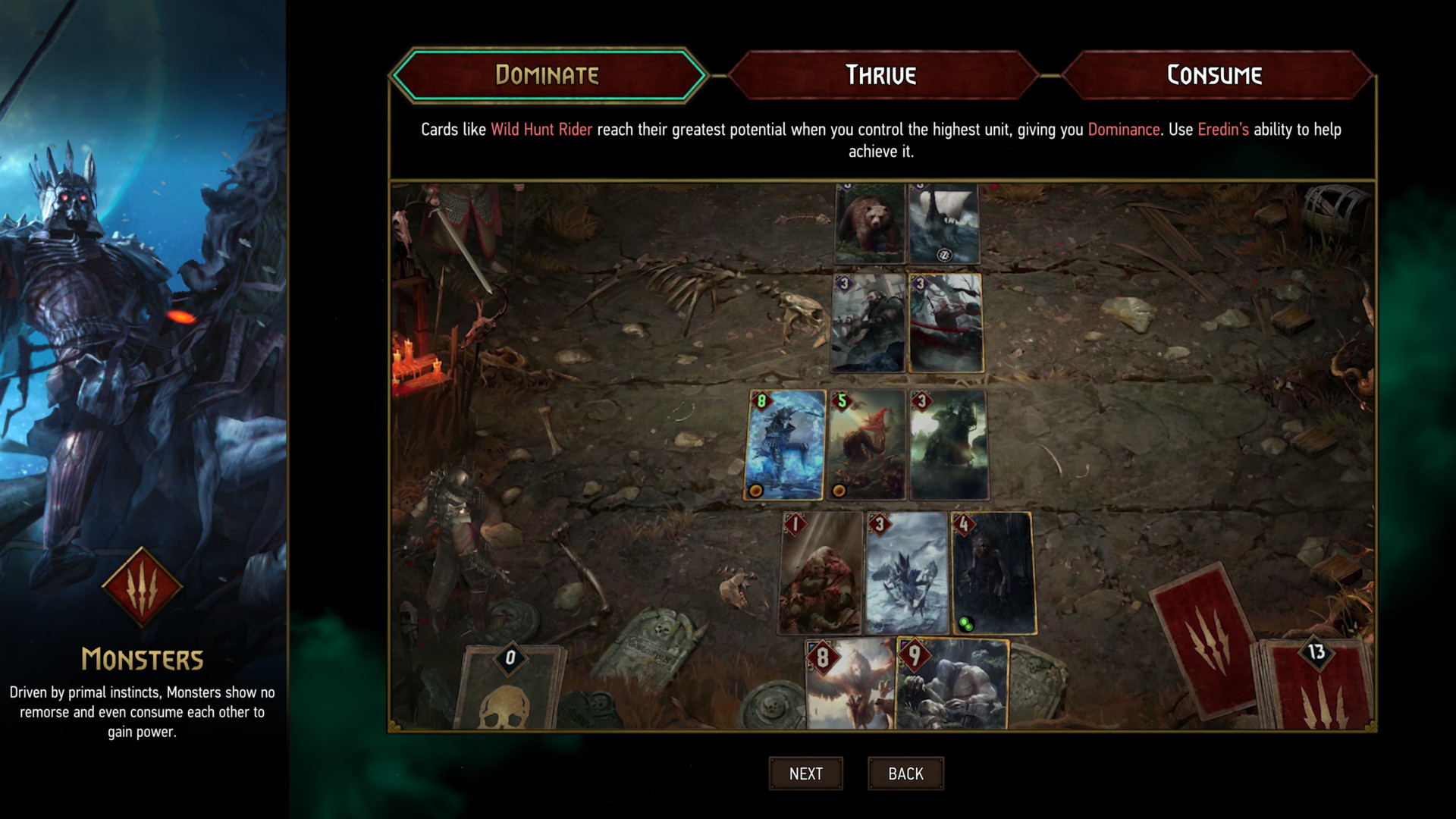 Monsters deck screenshot of Gwent: The Witcher Card Game video game interface.