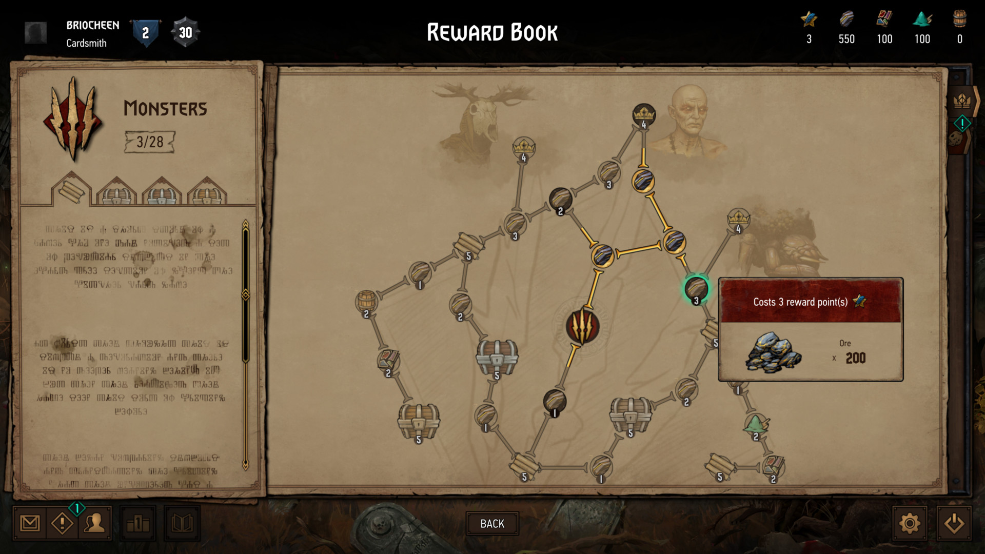Monsters reward screenshot of Gwent: The Witcher Card Game video game interface.