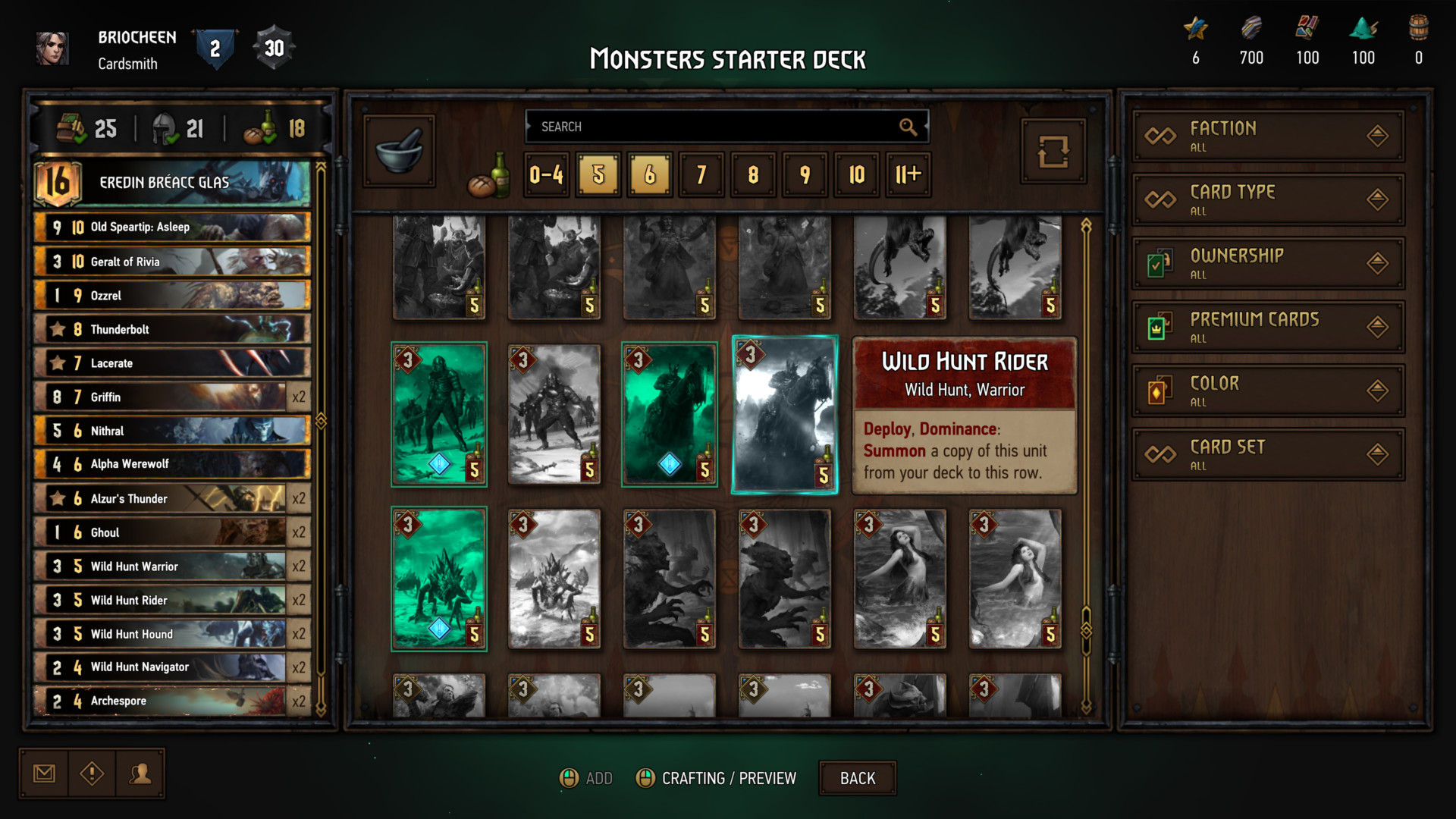 Monsters starter deck screenshot of Gwent: The Witcher Card Game video game interface.