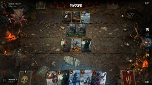 Passed screenshot of Gwent: The Witcher Card Game video game interface.