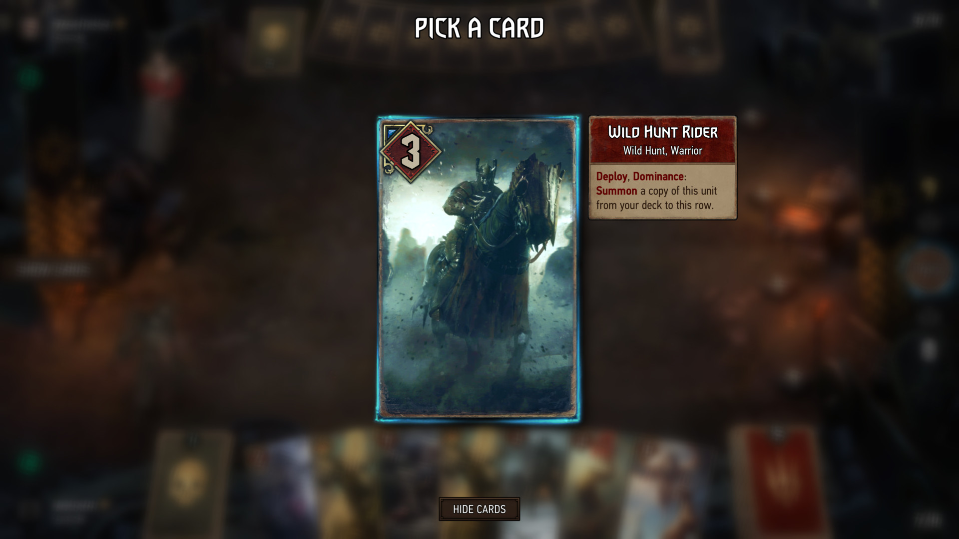 Pick a card screenshot of Gwent: The Witcher Card Game video game interface.