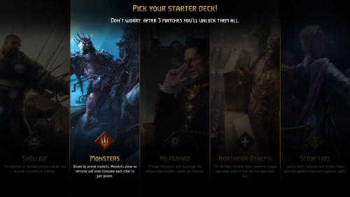 Pick you starter deck screenshot of Gwent: The Witcher Card Game video game interface.