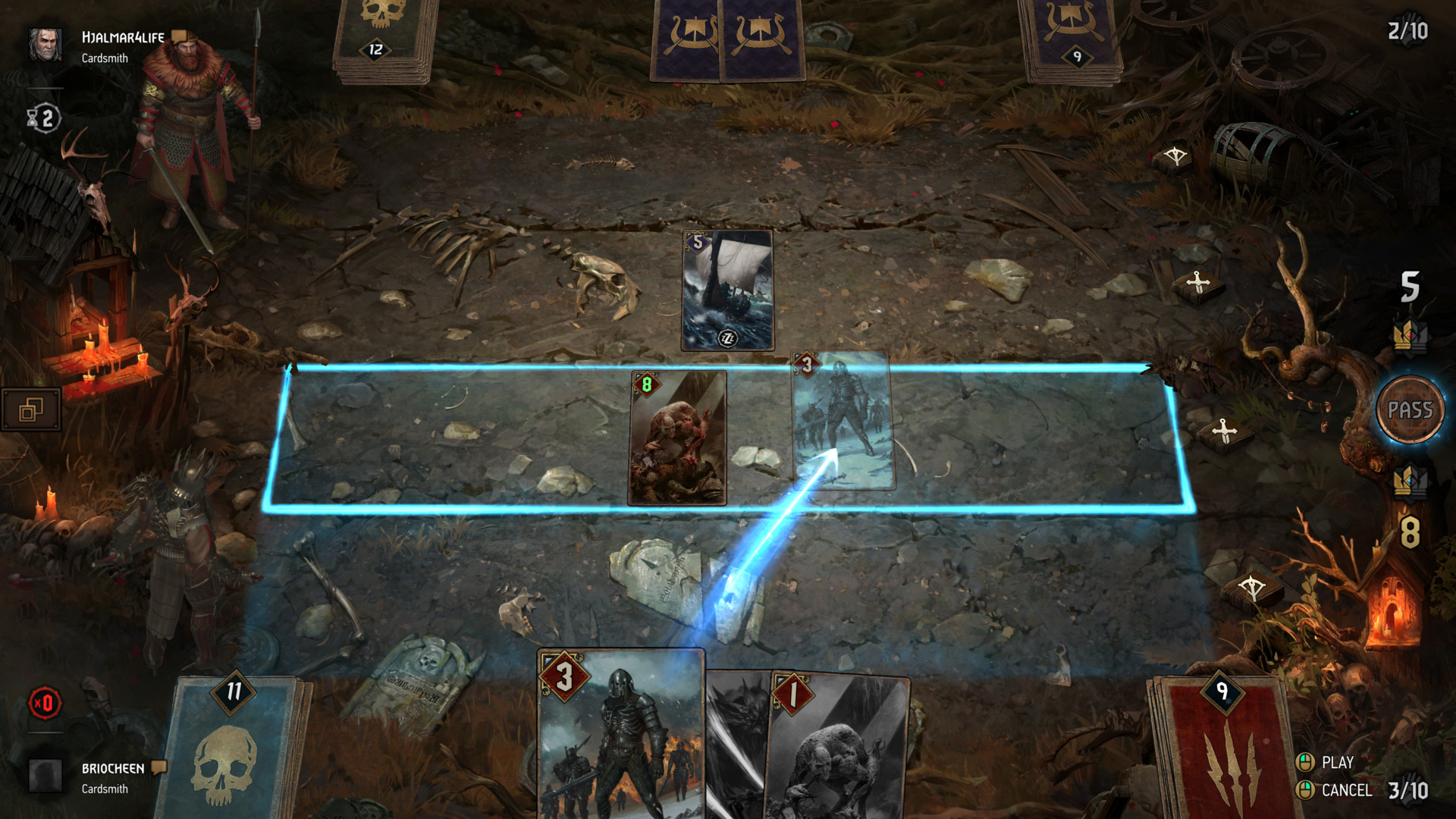 Play a card screenshot of Gwent: The Witcher Card Game video game interface.
