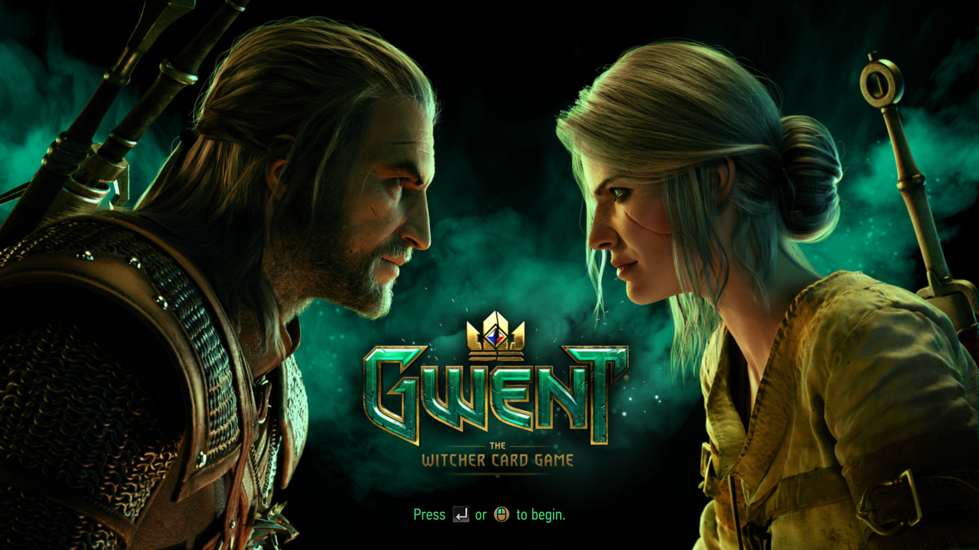Press enter to begin screenshot of Gwent: The Witcher Card Game video game interface.