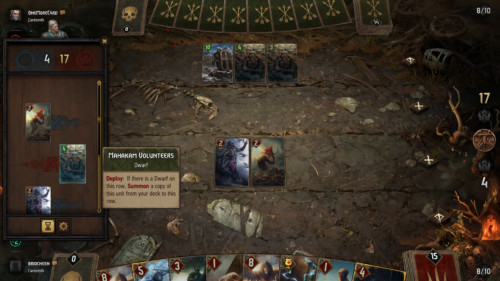 Previous play screenshot of Gwent: The Witcher Card Game video game interface.