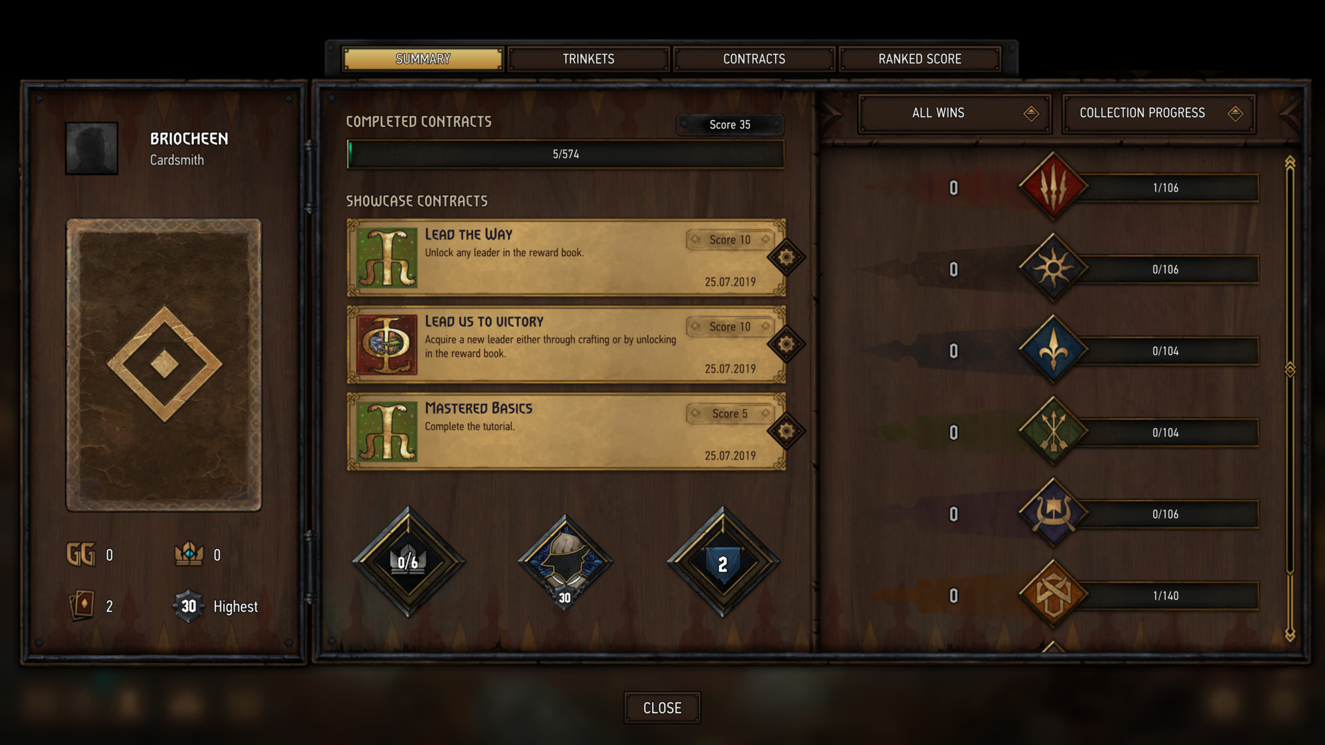 Profile summary screenshot of Gwent: The Witcher Card Game video game interface.