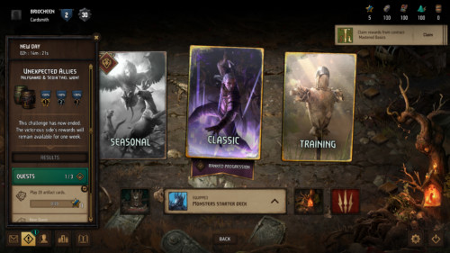 Quests screenshot of Gwent: The Witcher Card Game video game interface.