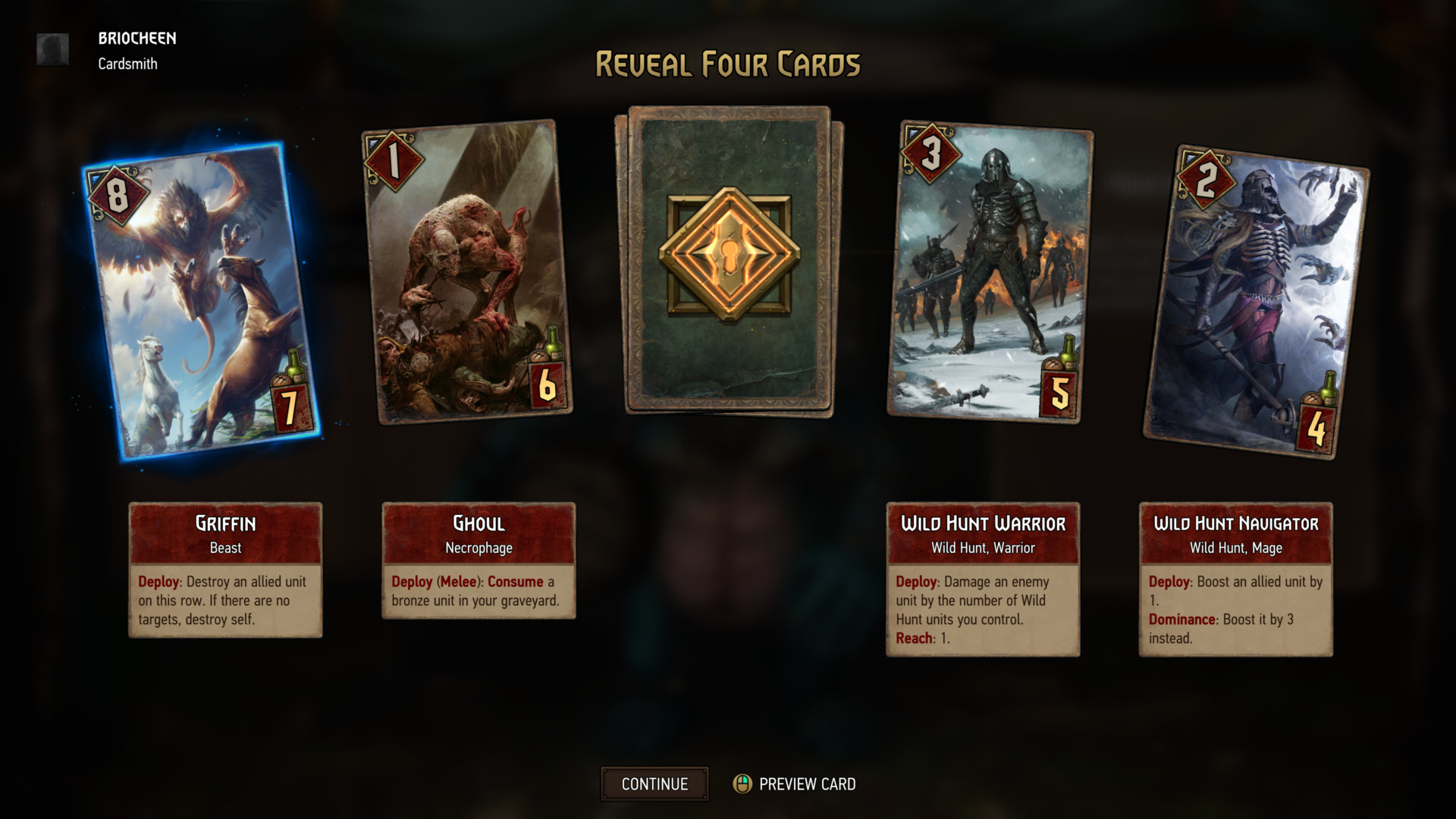 Reveal four cards screenshot of Gwent: The Witcher Card Game video game interface.